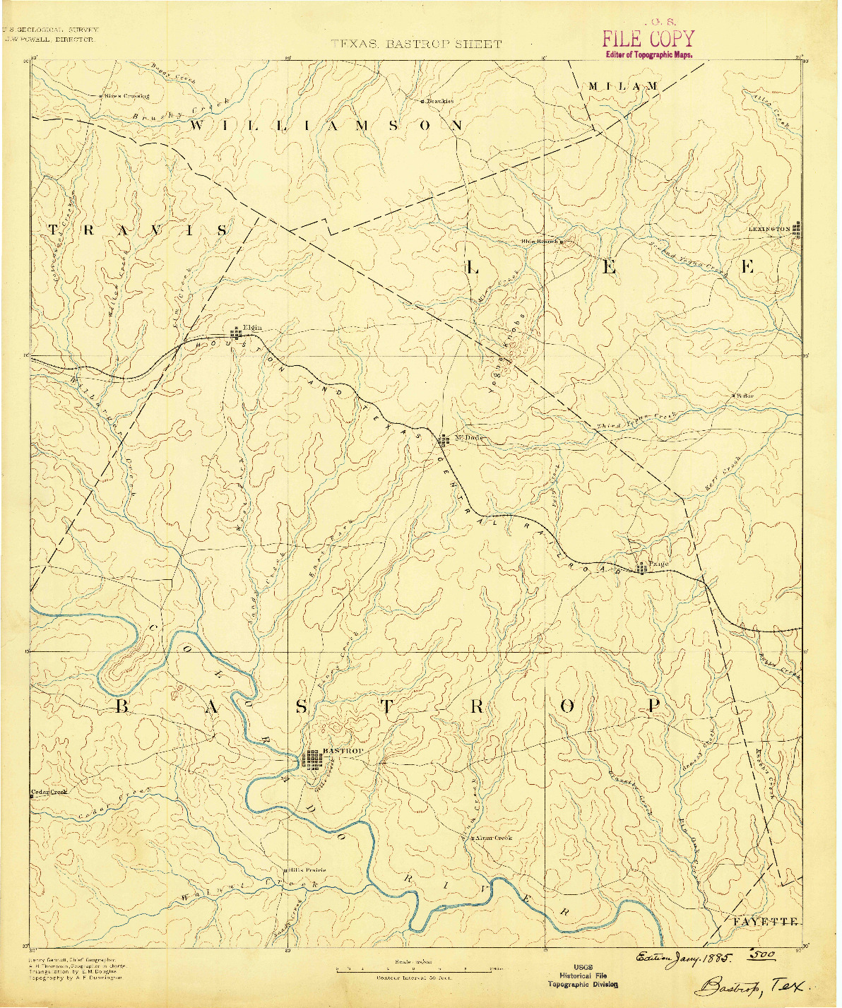 USGS 1:125000-SCALE QUADRANGLE FOR BASTROP, TX 1885
