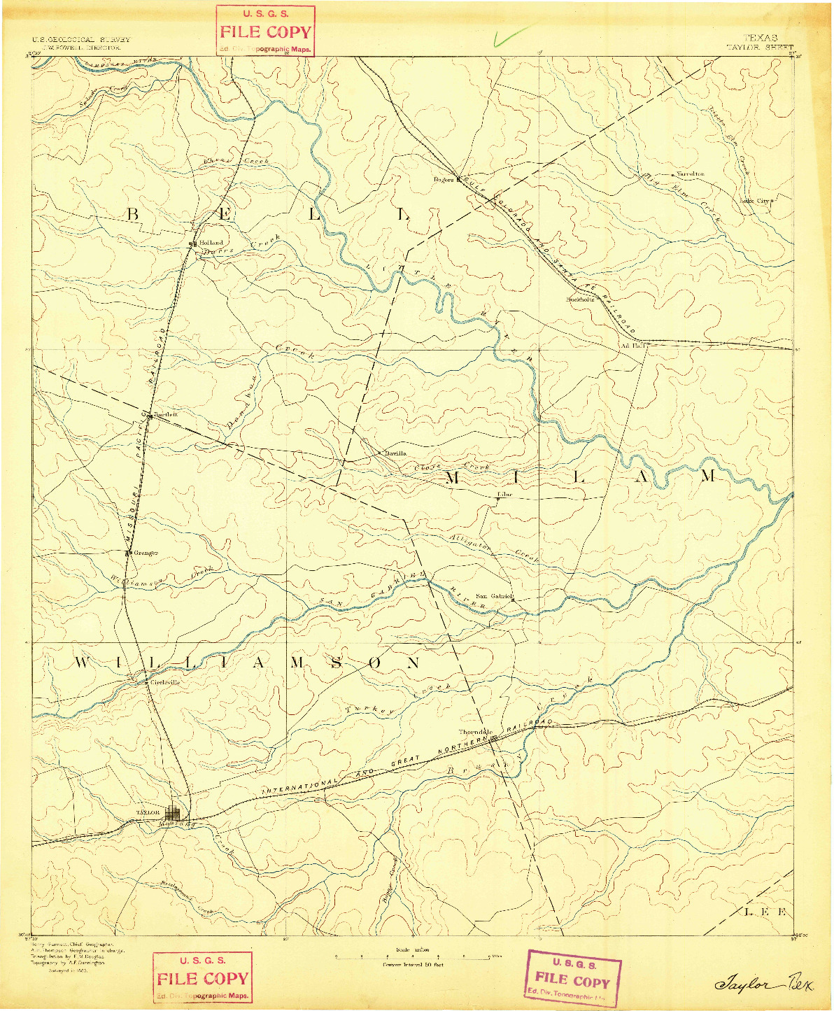 USGS 1:125000-SCALE QUADRANGLE FOR TAYLOR, TX 1885