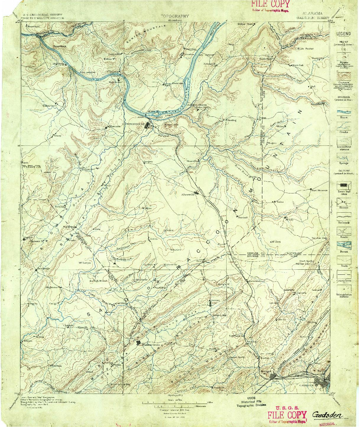 USGS 1:125000-SCALE QUADRANGLE FOR GADSDEN, AL 1885