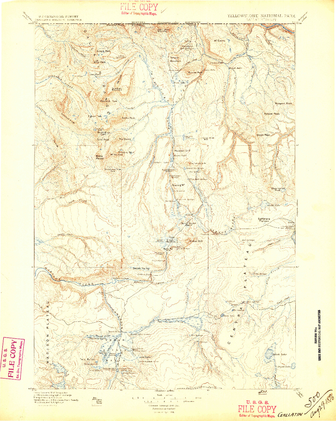 USGS 1:125000-SCALE QUADRANGLE FOR GALLATIN, WY 1885