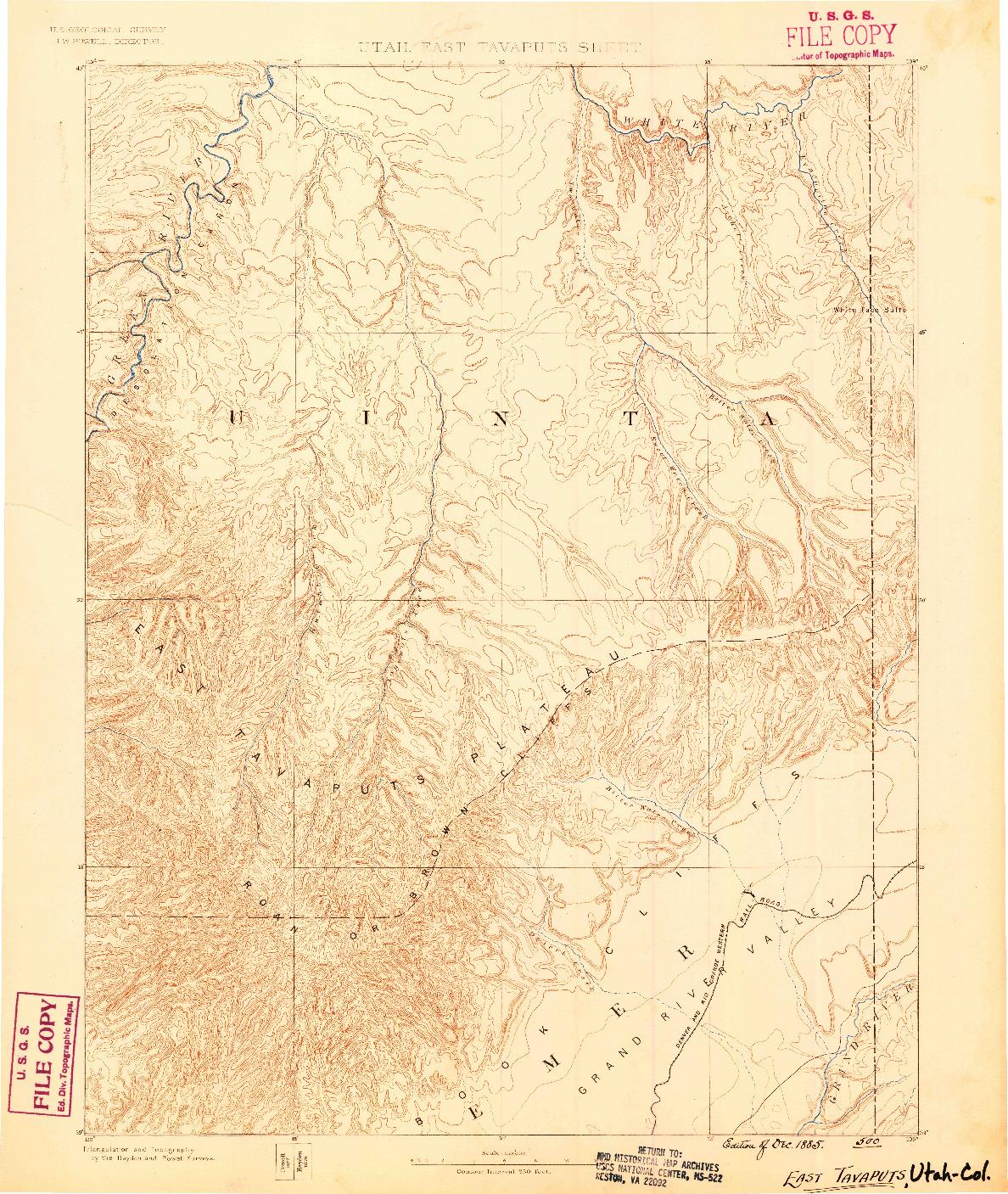 USGS 1:250000-SCALE QUADRANGLE FOR EAST TAVAPUTS, UT 1885