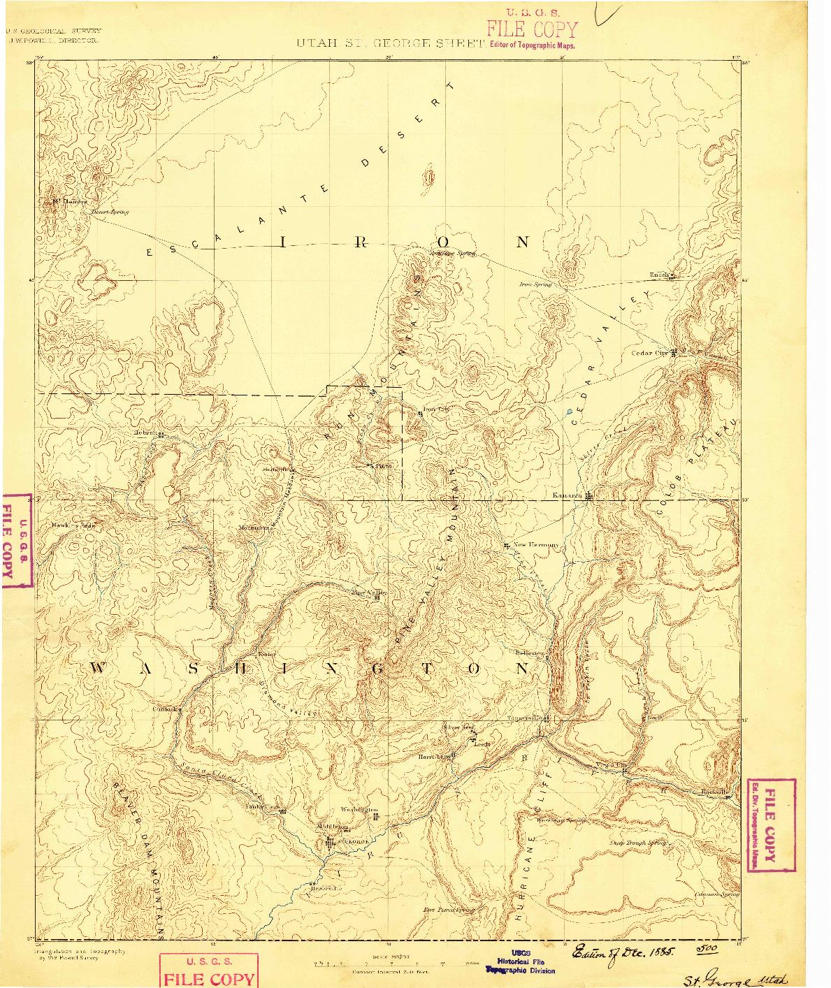 USGS 1:250000-SCALE QUADRANGLE FOR ST. GEORGE, UT 1885