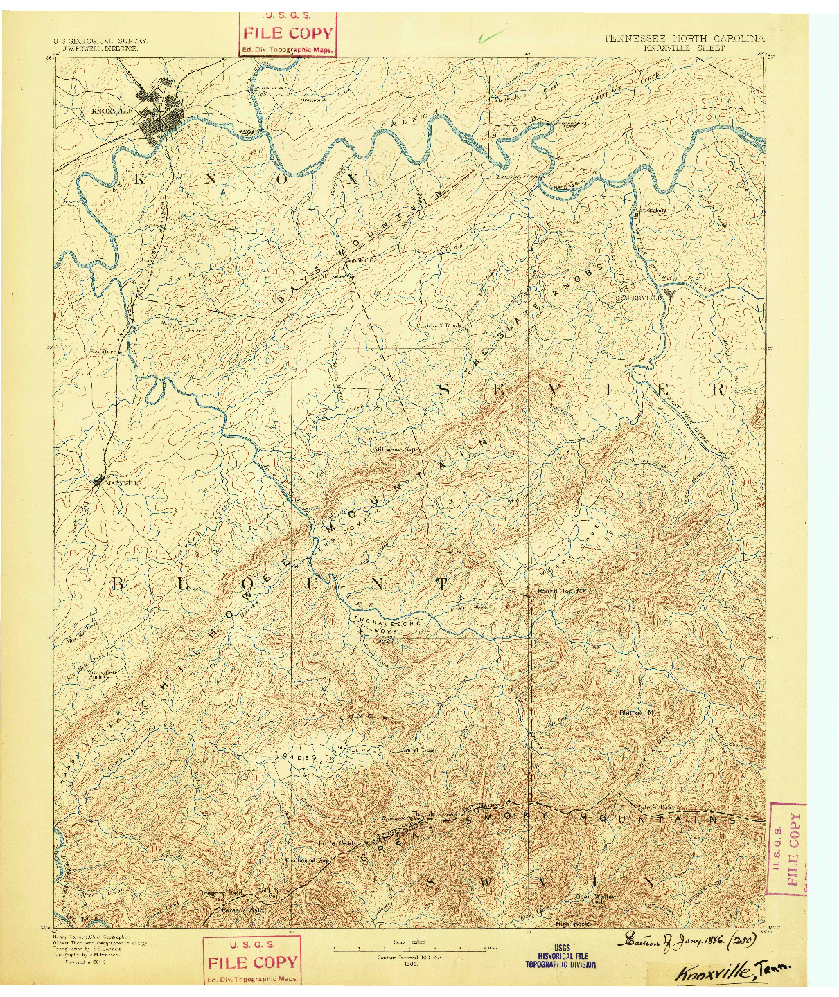 USGS 1:125000-SCALE QUADRANGLE FOR KNOXVILLE, TN 1886