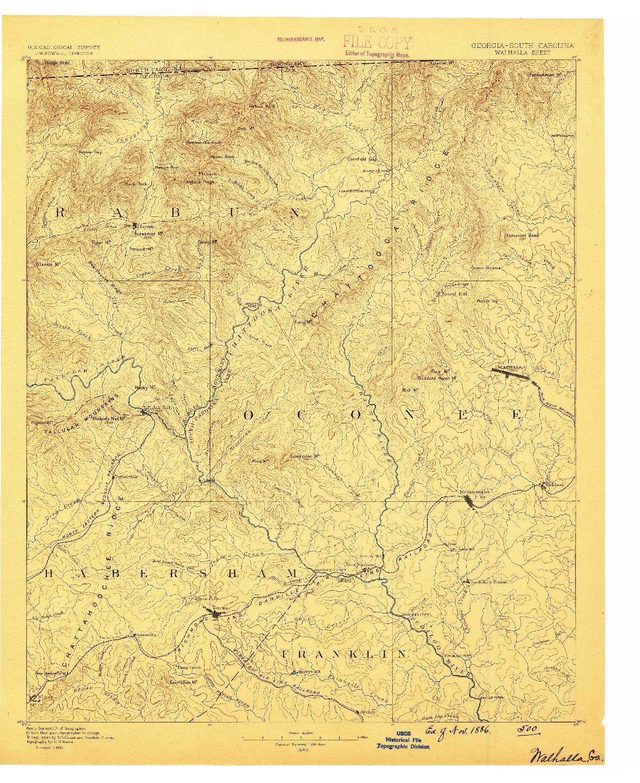 USGS 1:125000-SCALE QUADRANGLE FOR WALHALLA, GA 1886