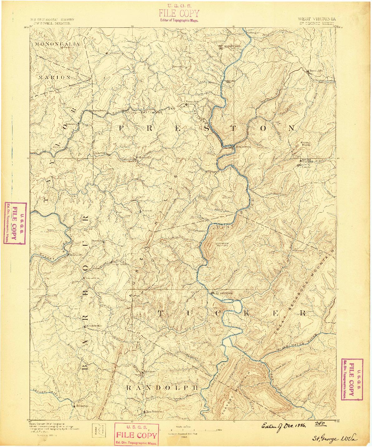 USGS 1:125000-SCALE QUADRANGLE FOR ST. GEORGE, WV 1886