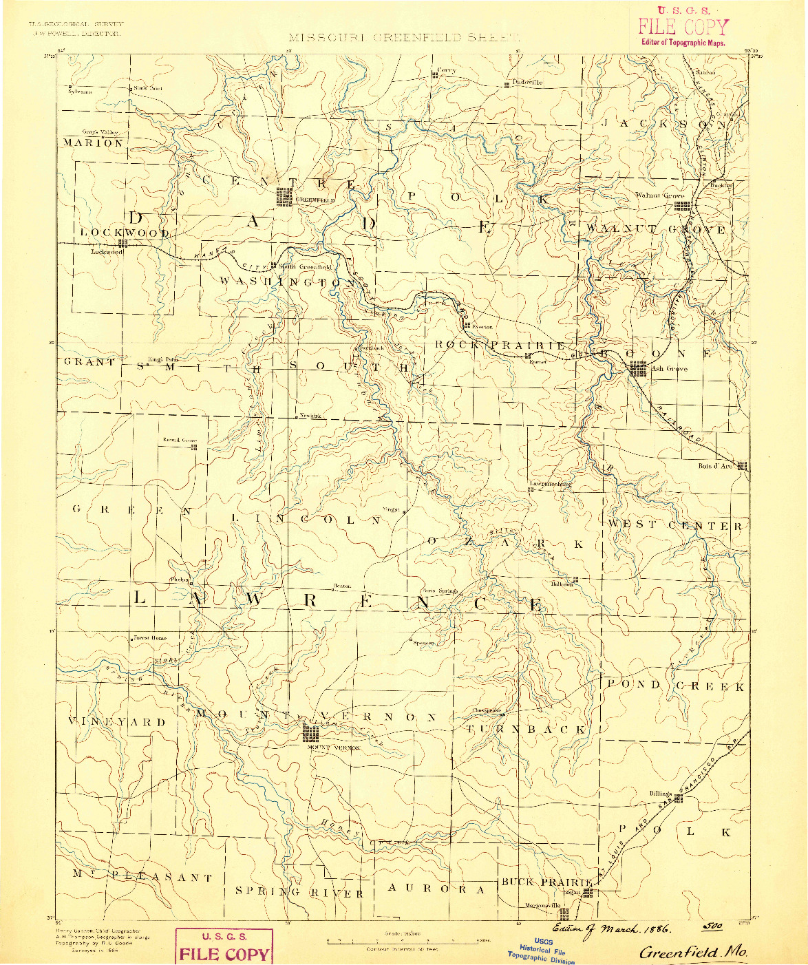 USGS 1:125000-SCALE QUADRANGLE FOR GREENFIELD, MO 1886
