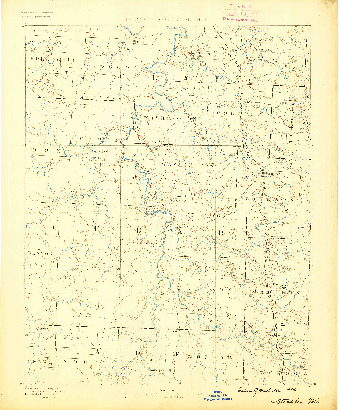 USGS 1:125000-SCALE QUADRANGLE FOR STOCKTON, MO 1886