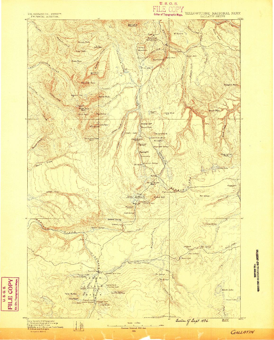USGS 1:125000-SCALE QUADRANGLE FOR GALLATIN, WY 1885