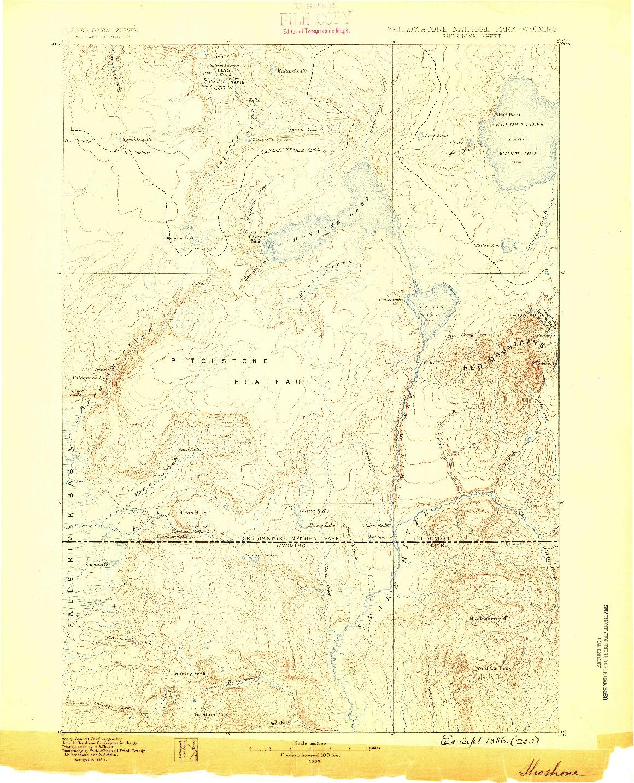 USGS 1:125000-SCALE QUADRANGLE FOR SHOSHONE, WY 1886