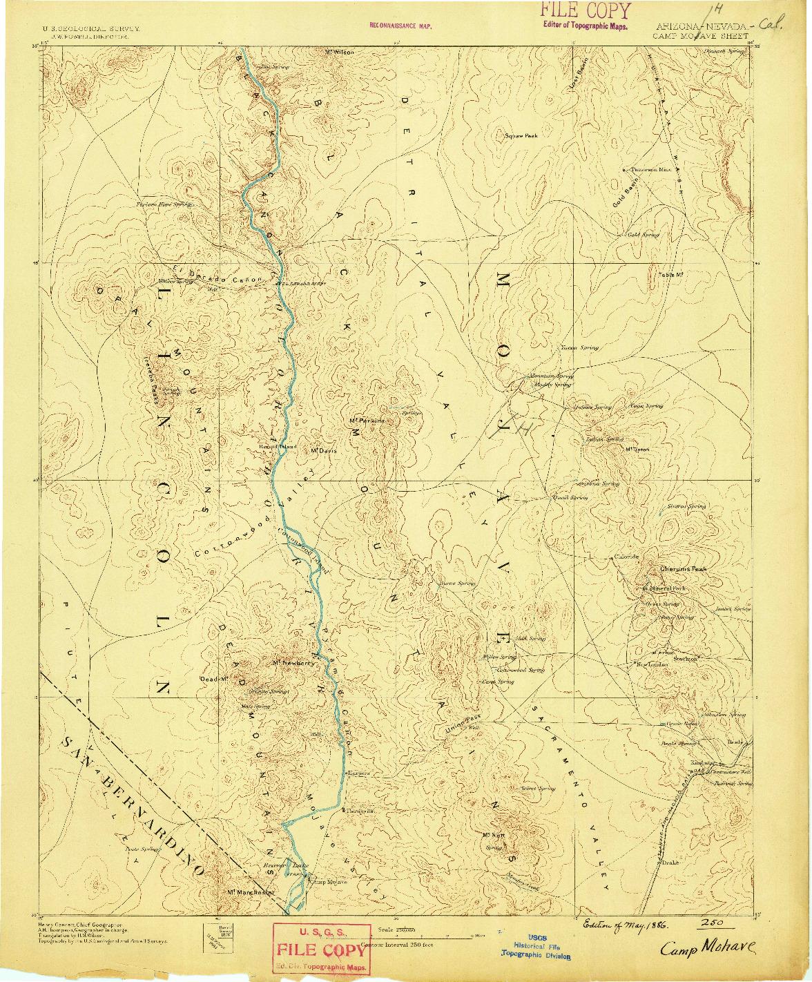 USGS 1:250000-SCALE QUADRANGLE FOR CAMP MOHAVE, AZ 1886