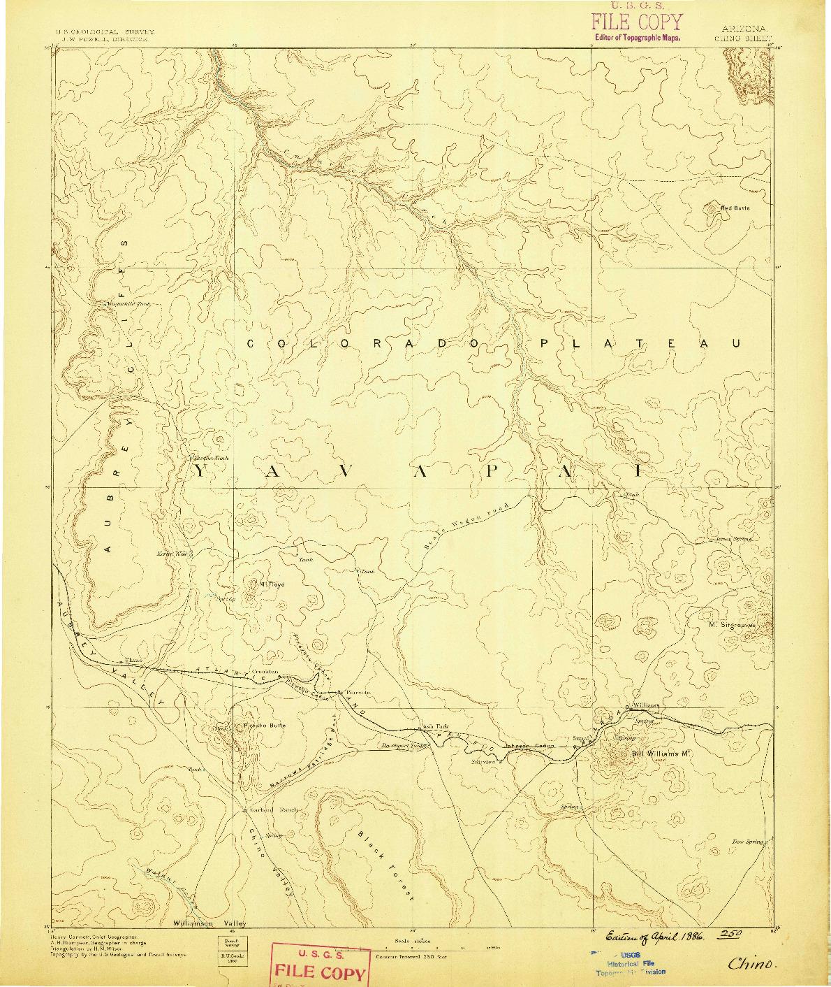 USGS 1:250000-SCALE QUADRANGLE FOR CHINO, AZ 1886