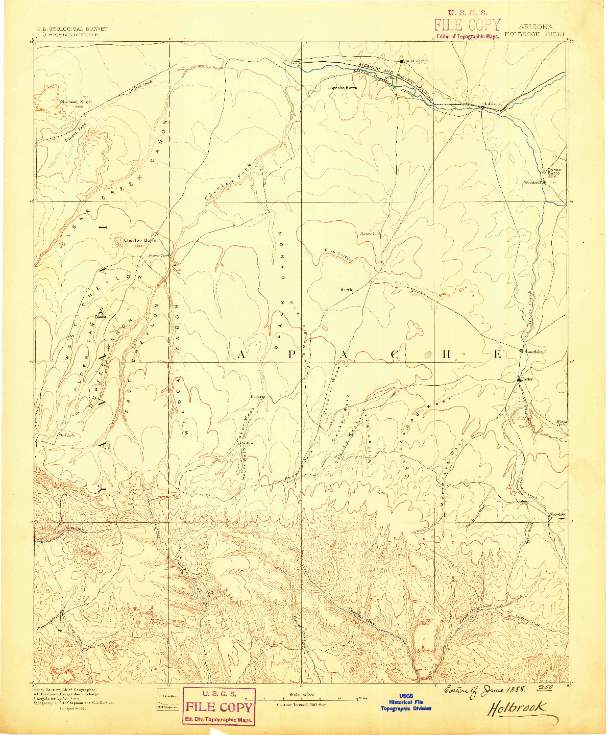 USGS 1:250000-SCALE QUADRANGLE FOR HOLBROOK, AZ 1886