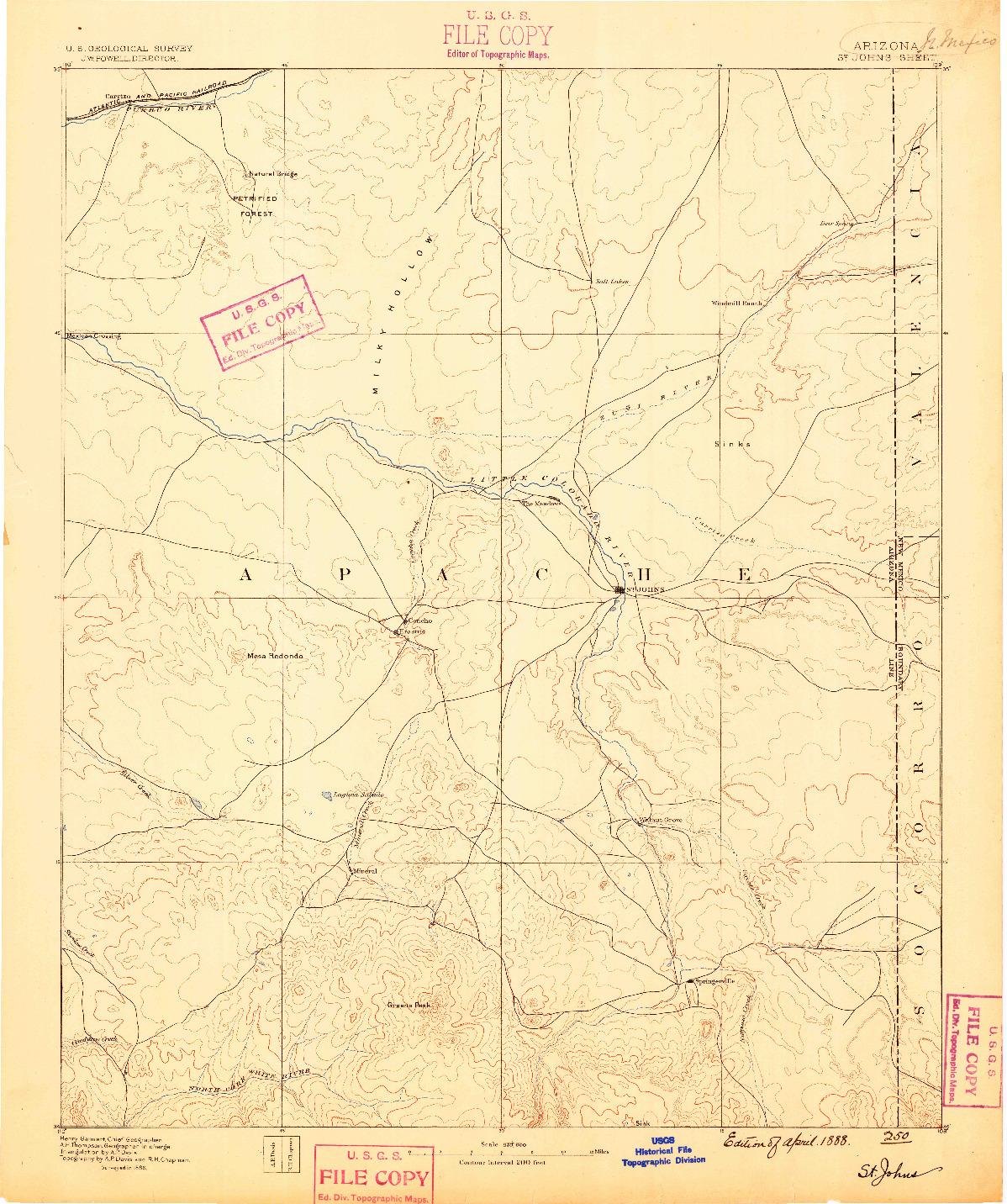 USGS 1:250000-SCALE QUADRANGLE FOR ST JOHNS, AZ 1886