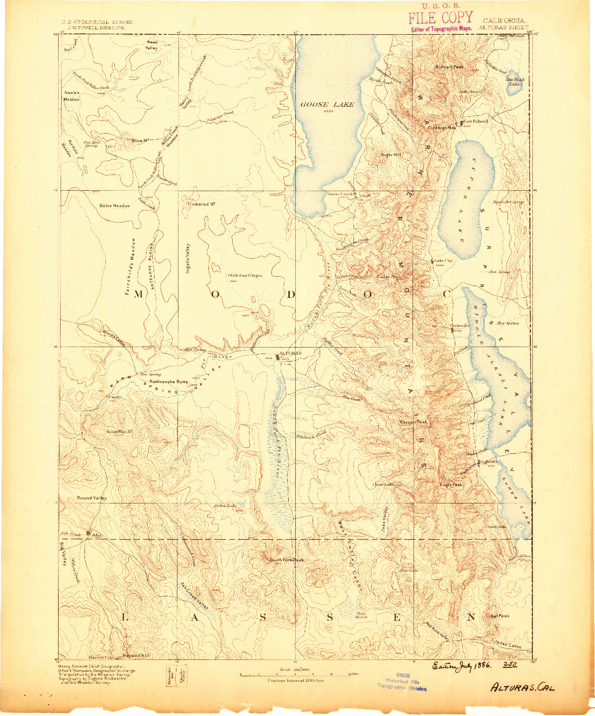 USGS 1:250000-SCALE QUADRANGLE FOR ALTURAS, CA 1886