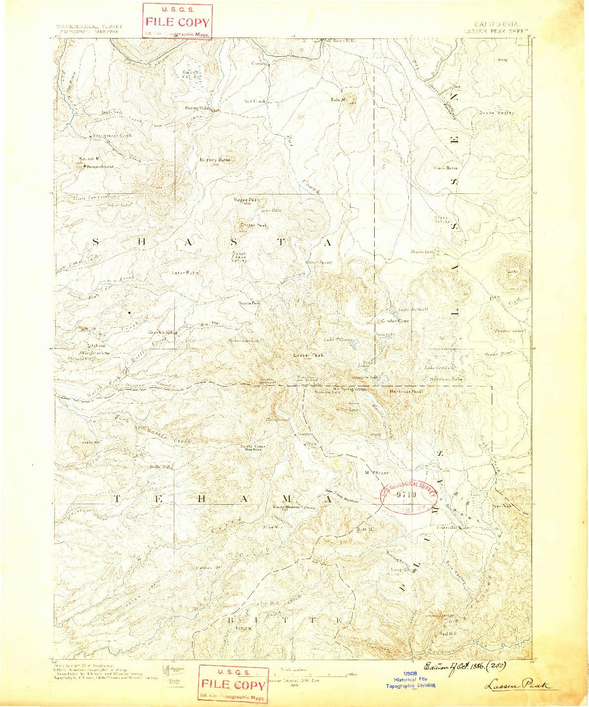 USGS 1:250000-SCALE QUADRANGLE FOR LASSEN PEAK, CA 1886