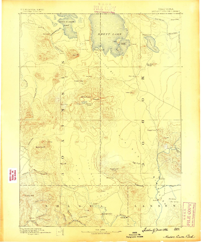 USGS 1:250000-SCALE QUADRANGLE FOR MODOC LAVA BED, CA 1886