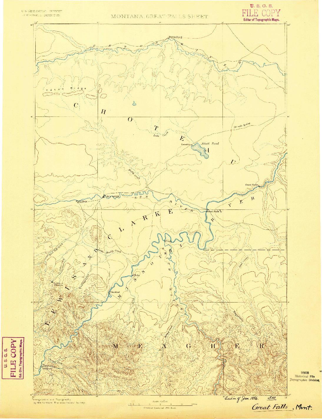 USGS 1:250000-SCALE QUADRANGLE FOR GREAT FALLS, MT 1886