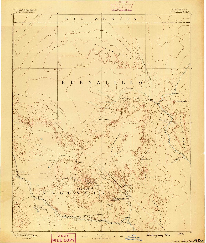 USGS 1:250000-SCALE QUADRANGLE FOR MT. TAYLOR, NM 1886