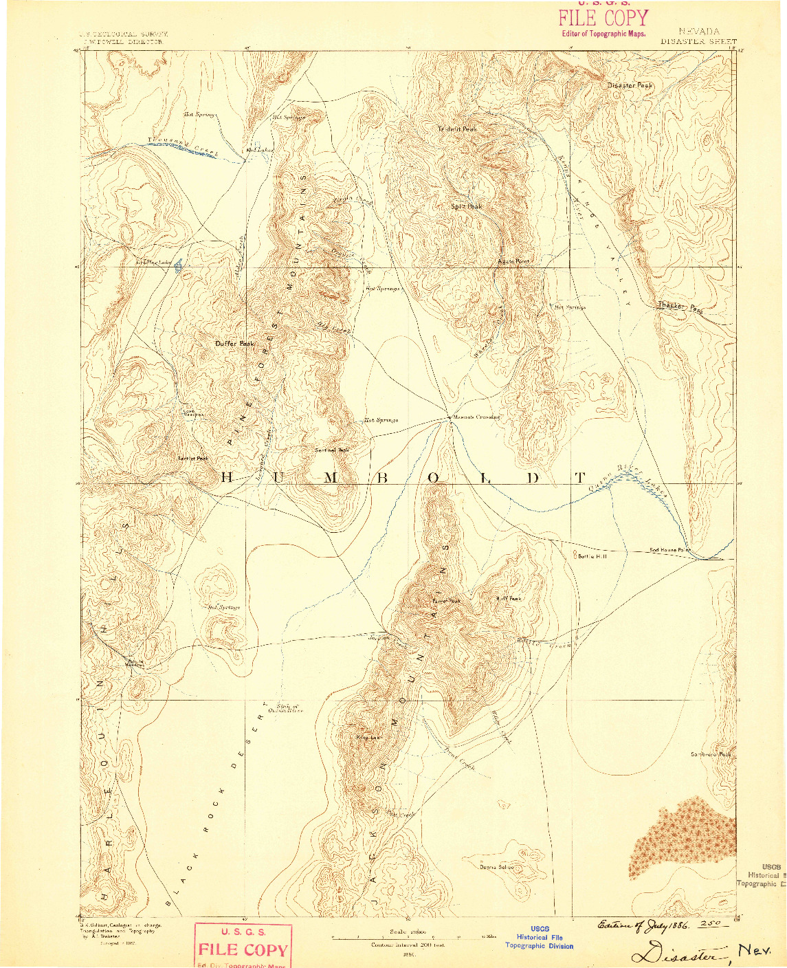 USGS 1:250000-SCALE QUADRANGLE FOR DISASTER, NV 1886