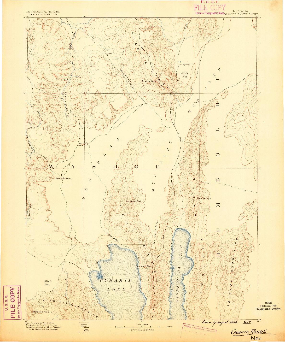 USGS 1:250000-SCALE QUADRANGLE FOR GRANITE RANGE, NV 1886