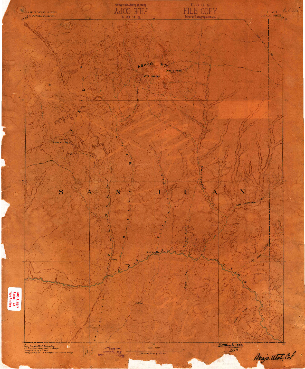 USGS 1:250000-SCALE QUADRANGLE FOR ABAJO, UT 1886