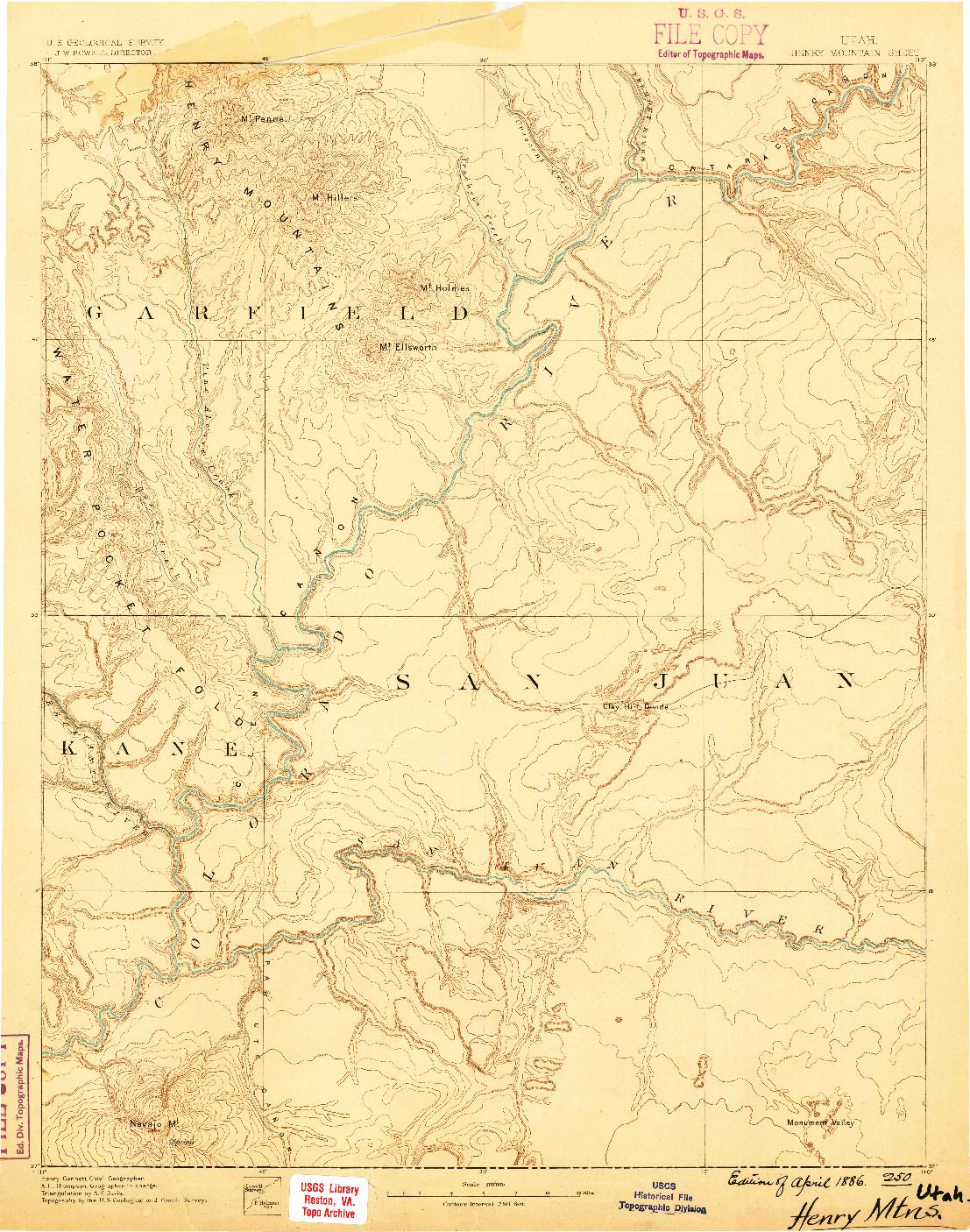 USGS 1:250000-SCALE QUADRANGLE FOR HENRY MOUNTAINS, UT 1886