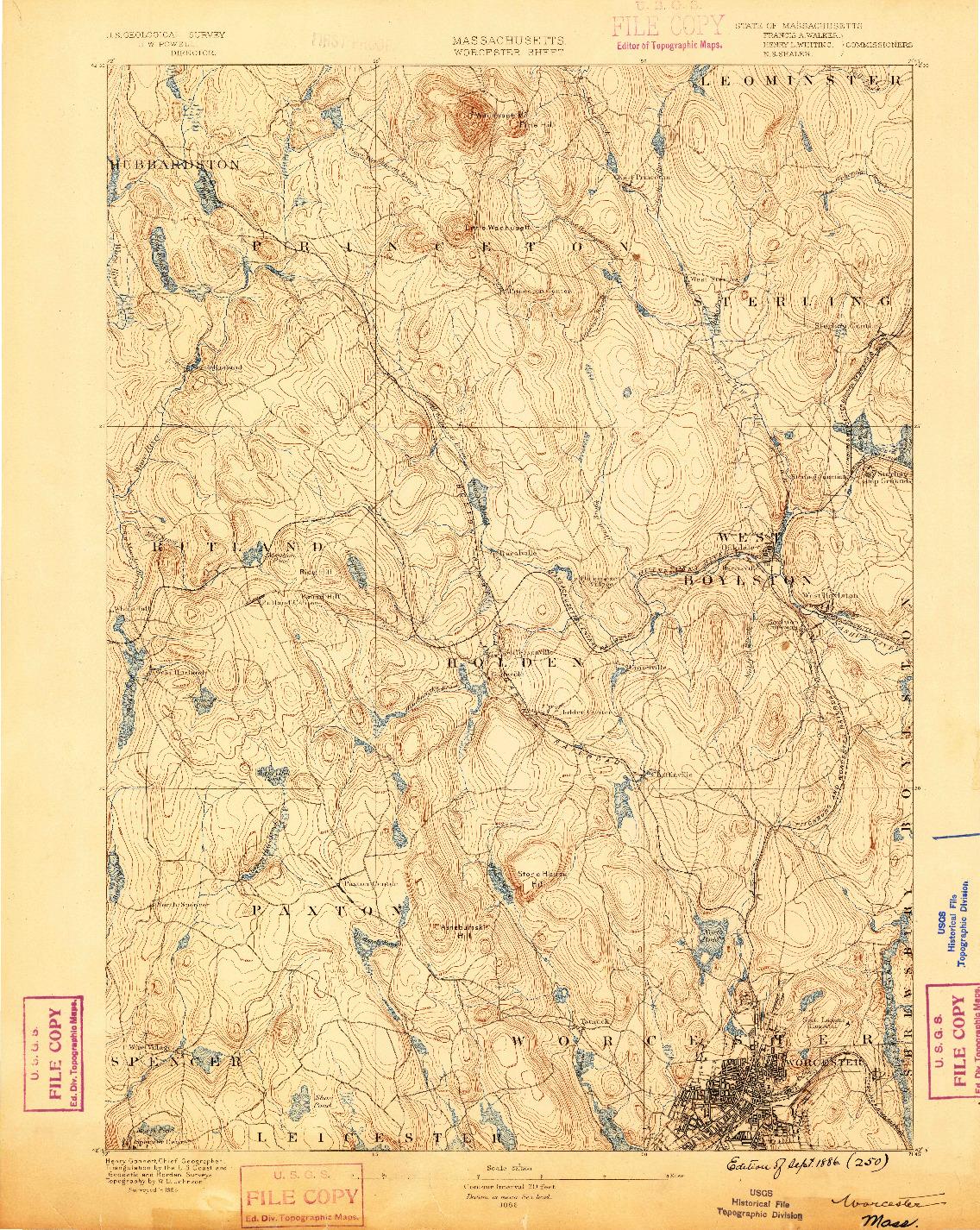 USGS 1:62500-SCALE QUADRANGLE FOR WORCESTER, MA 1886