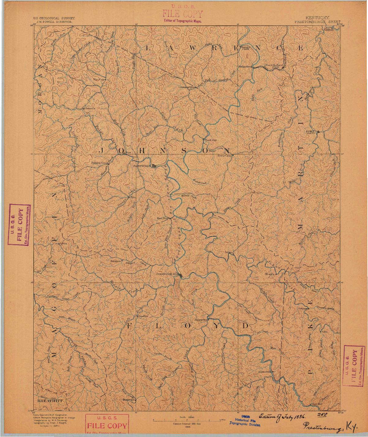 USGS 1:125000-SCALE QUADRANGLE FOR PRESTONSBURG, KY 1886