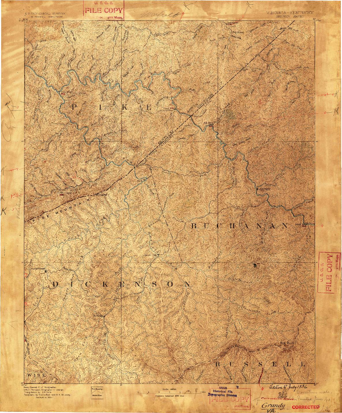 USGS 1:125000-SCALE QUADRANGLE FOR GRUNDY, VA 1886
