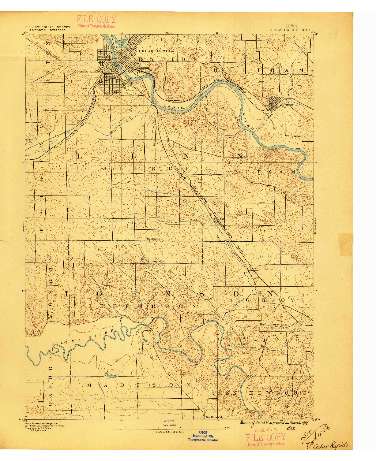USGS 1:62500-SCALE QUADRANGLE FOR CEDAR RAPIDS, IA 1887