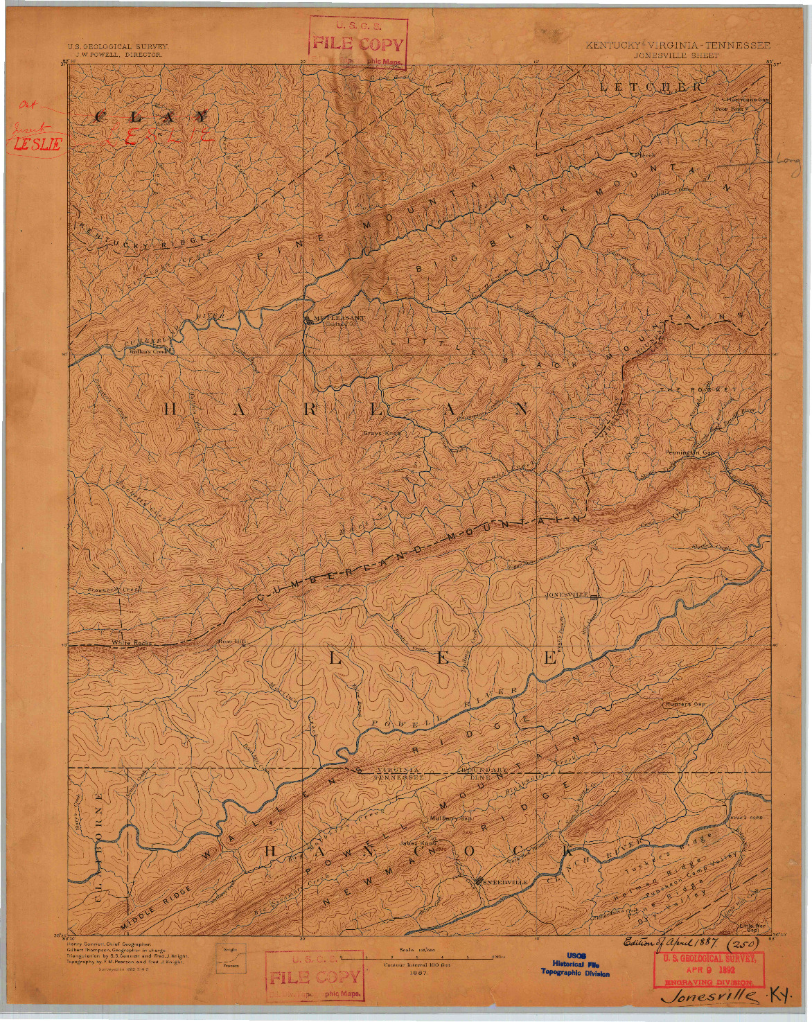 USGS 1:125000-SCALE QUADRANGLE FOR JONESVILLE, KY 1887
