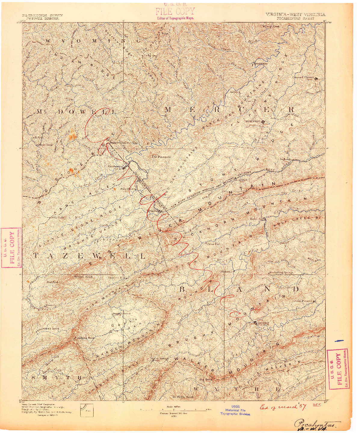 USGS 1:125000-SCALE QUADRANGLE FOR POCAHONTAS, VA 1887