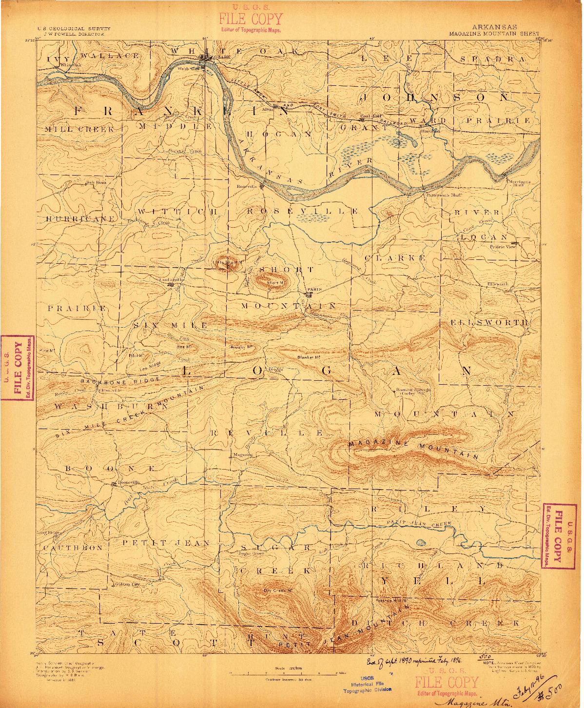 USGS 1:62500-SCALE QUADRANGLE FOR MAGAZINE MOUNTAIN, AR 1887