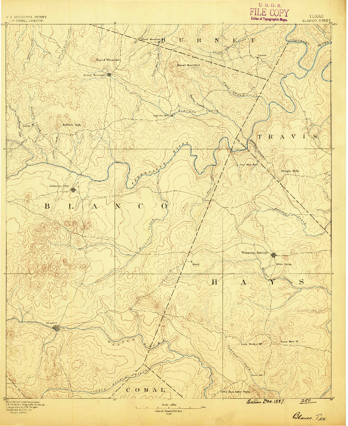 USGS 1:125000-SCALE QUADRANGLE FOR BLANCO, TX 1887