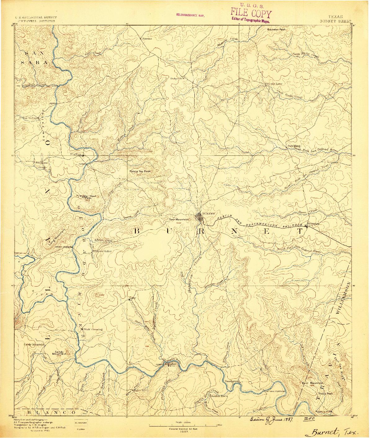 USGS 1:125000-SCALE QUADRANGLE FOR BURNET, TX 1887