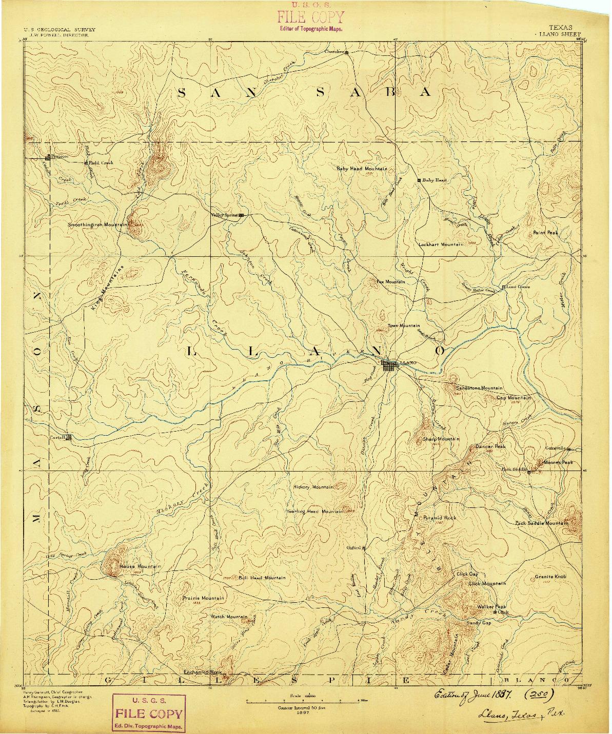 USGS 1:125000-SCALE QUADRANGLE FOR LLANO, TX 1887