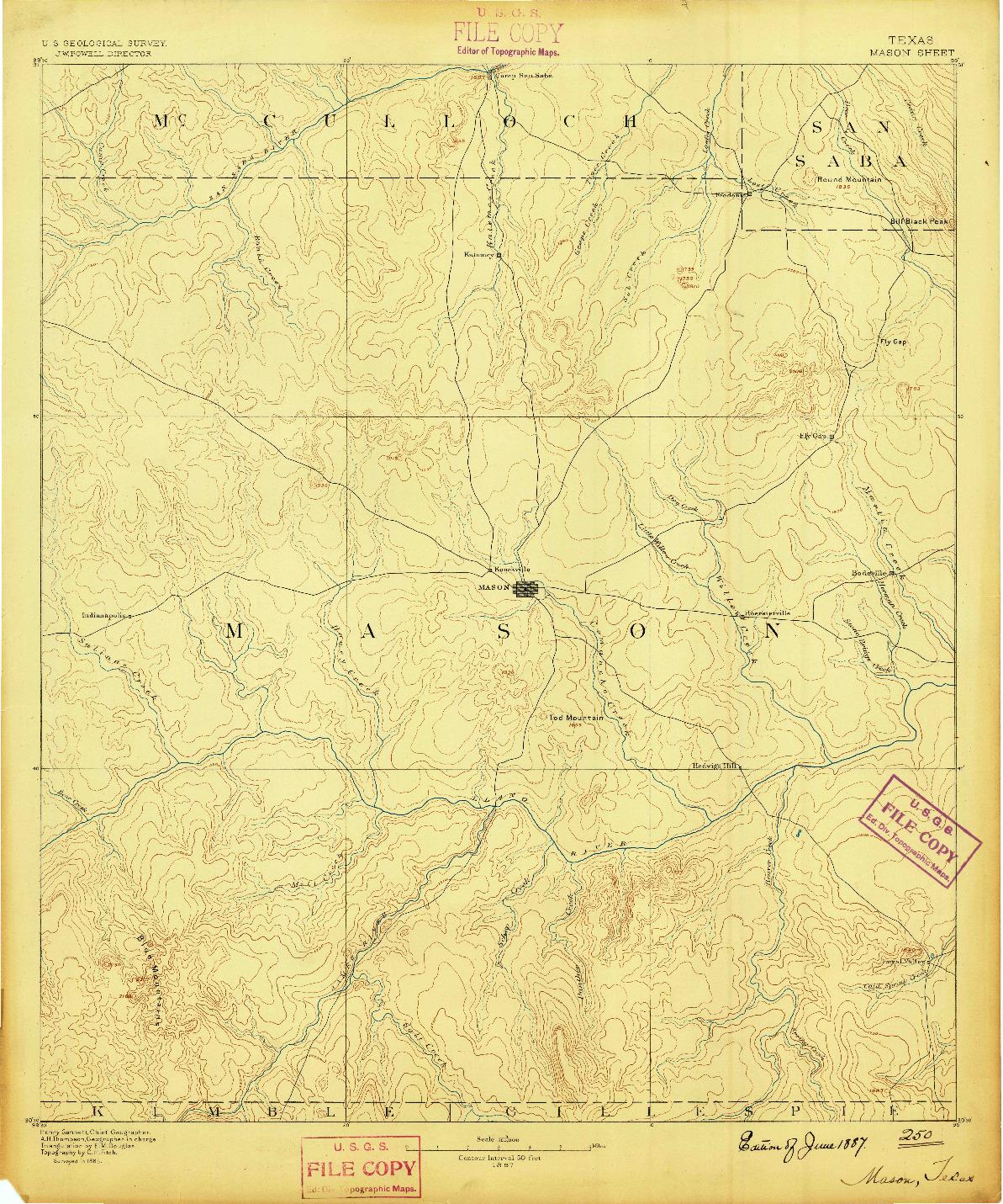 USGS 1:125000-SCALE QUADRANGLE FOR MASON, TX 1887