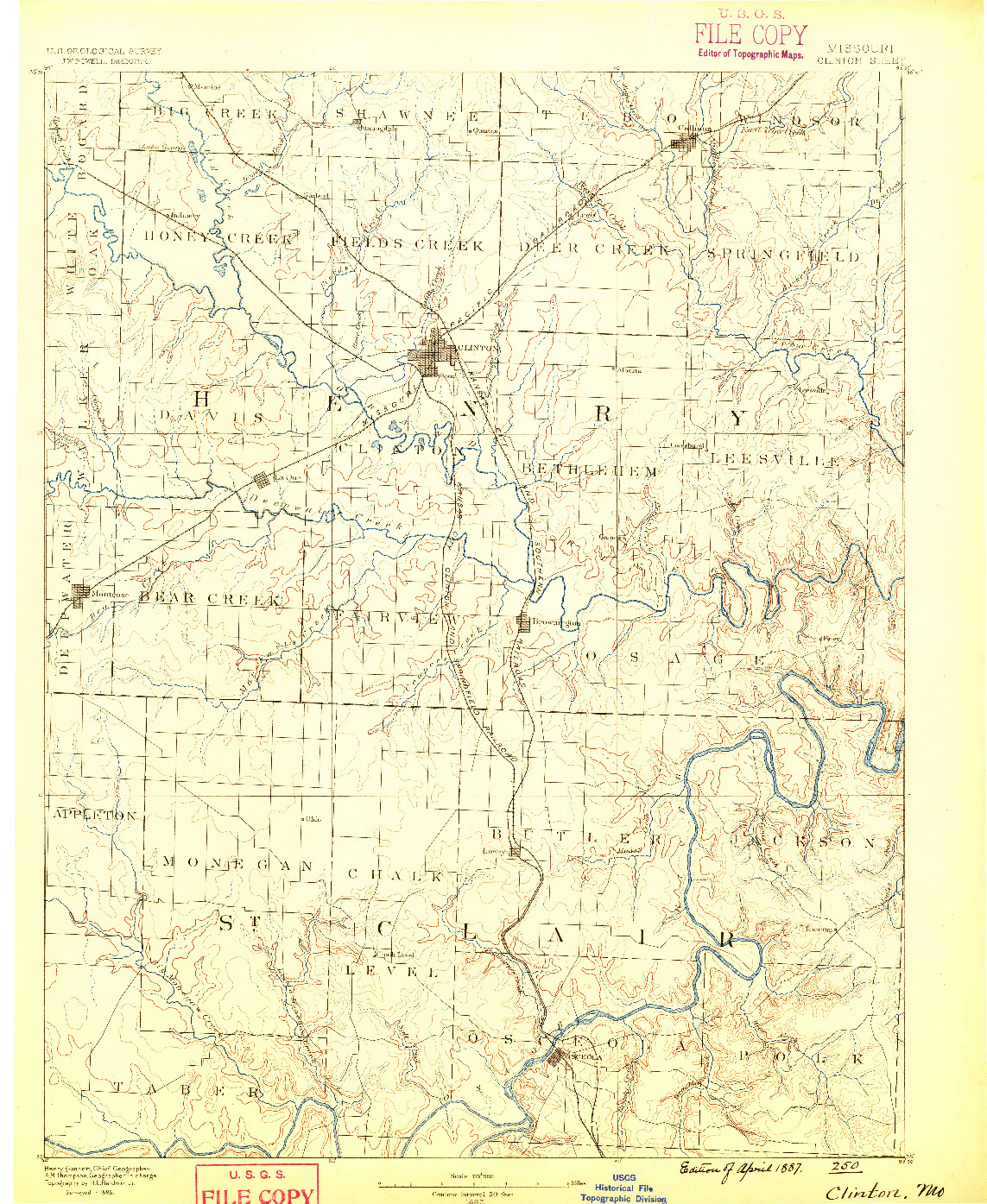 USGS 1:125000-SCALE QUADRANGLE FOR CLINTON, MO 1887
