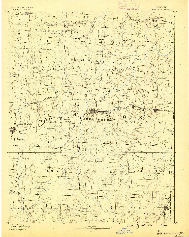 USGS 1:125000-SCALE QUADRANGLE FOR WARRENSBURG, MO 1887