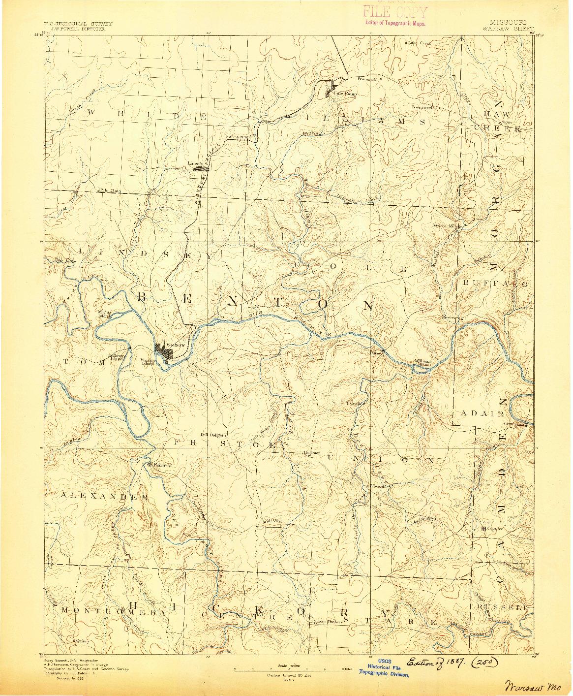 USGS 1:125000-SCALE QUADRANGLE FOR WARSAW, MO 1887