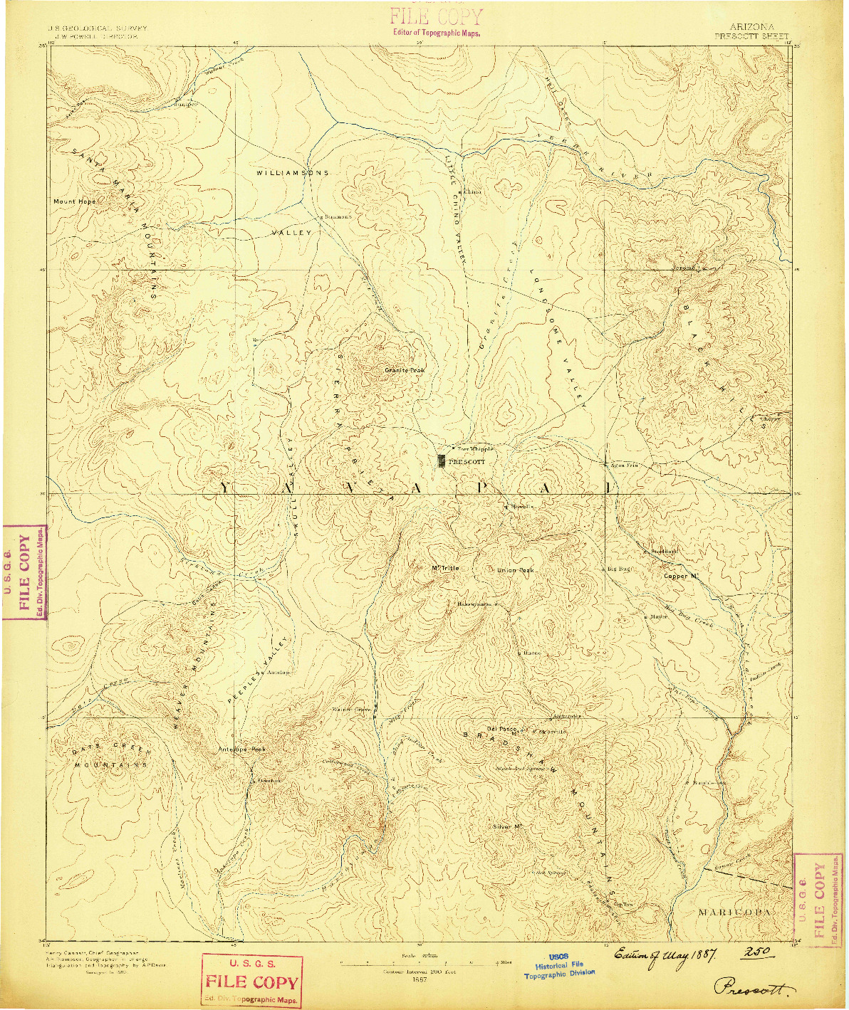 USGS 1:250000-SCALE QUADRANGLE FOR PRESCOTT, AZ 1887