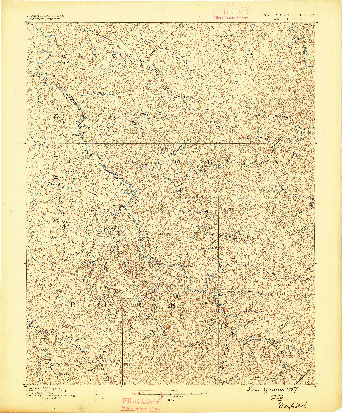 USGS 1:125000-SCALE QUADRANGLE FOR WARFIELD, WV 1887