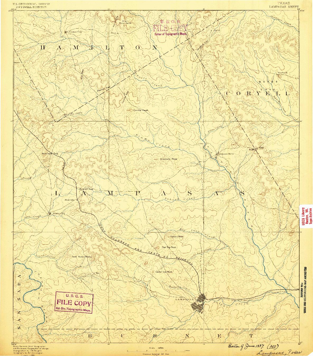 USGS 1:125000-SCALE QUADRANGLE FOR LAMPASAS, TX 1887