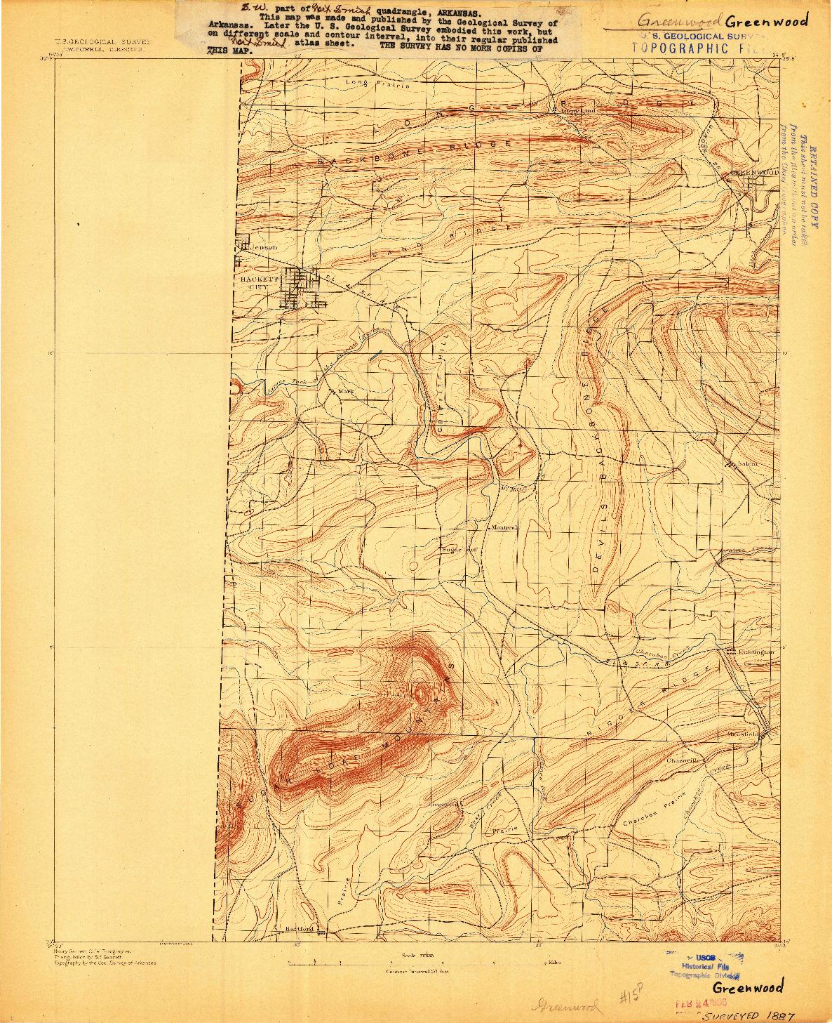 USGS 1:62500-SCALE QUADRANGLE FOR GREENWOOD, AR 1887