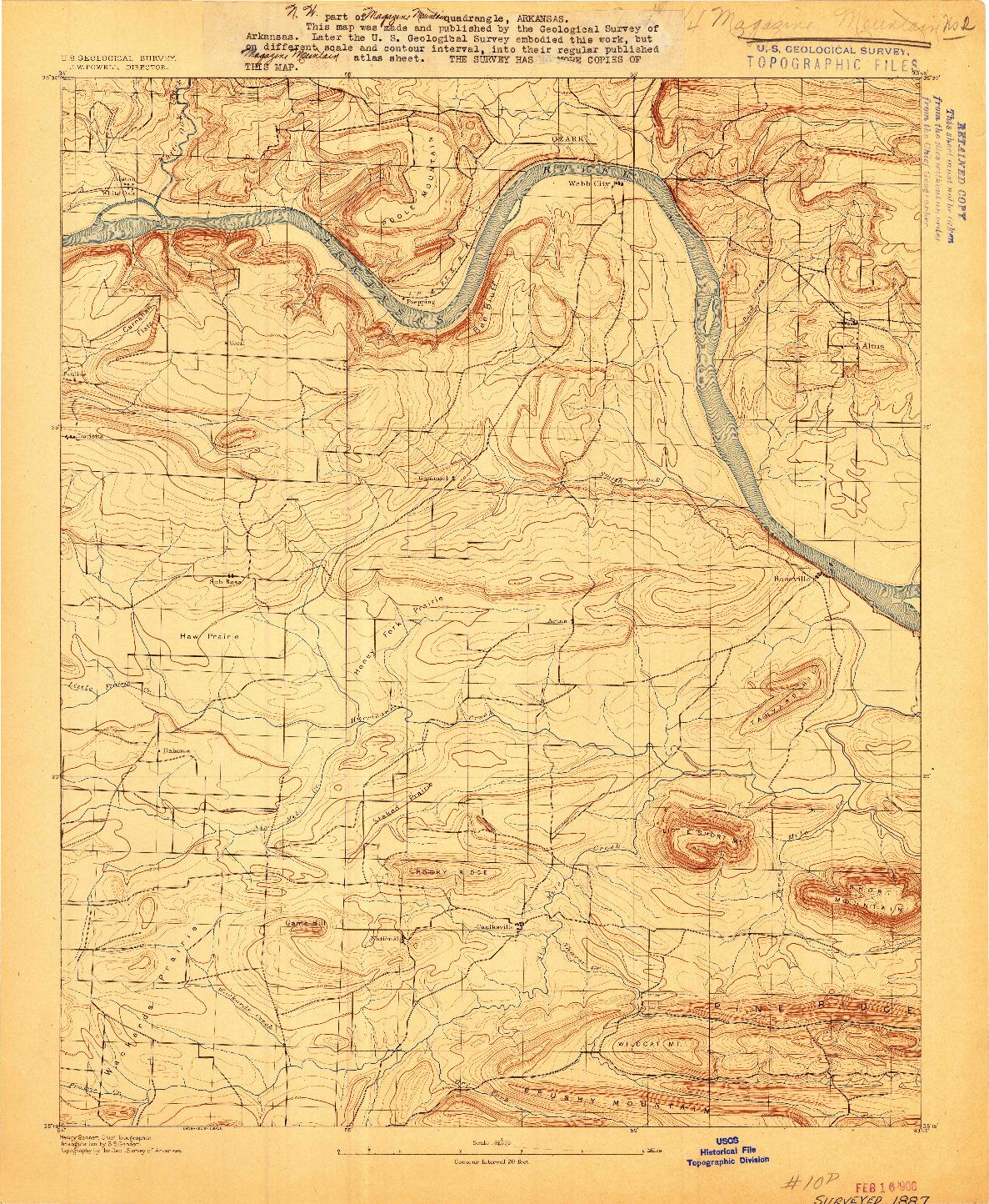 USGS 1:62500-SCALE QUADRANGLE FOR MAGAZINE MOUNTAIN #2, AR 1887