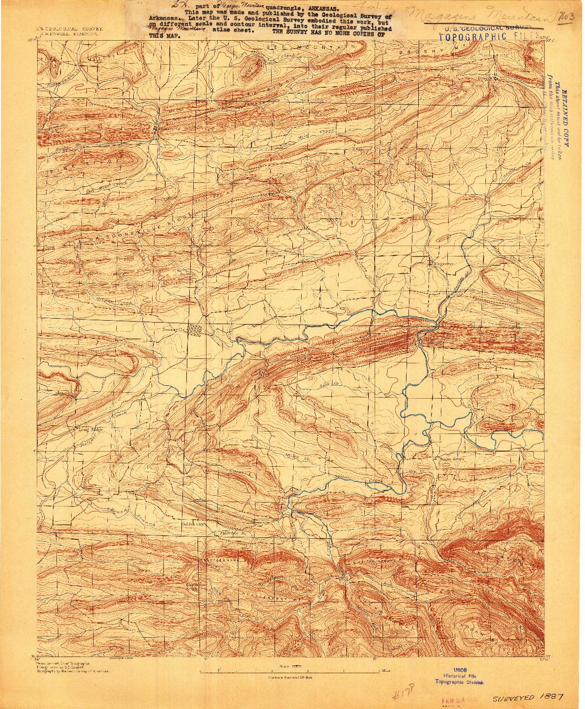 USGS 1:62500-SCALE QUADRANGLE FOR MAGAZINE MOUNTAIN #3, AR 1887