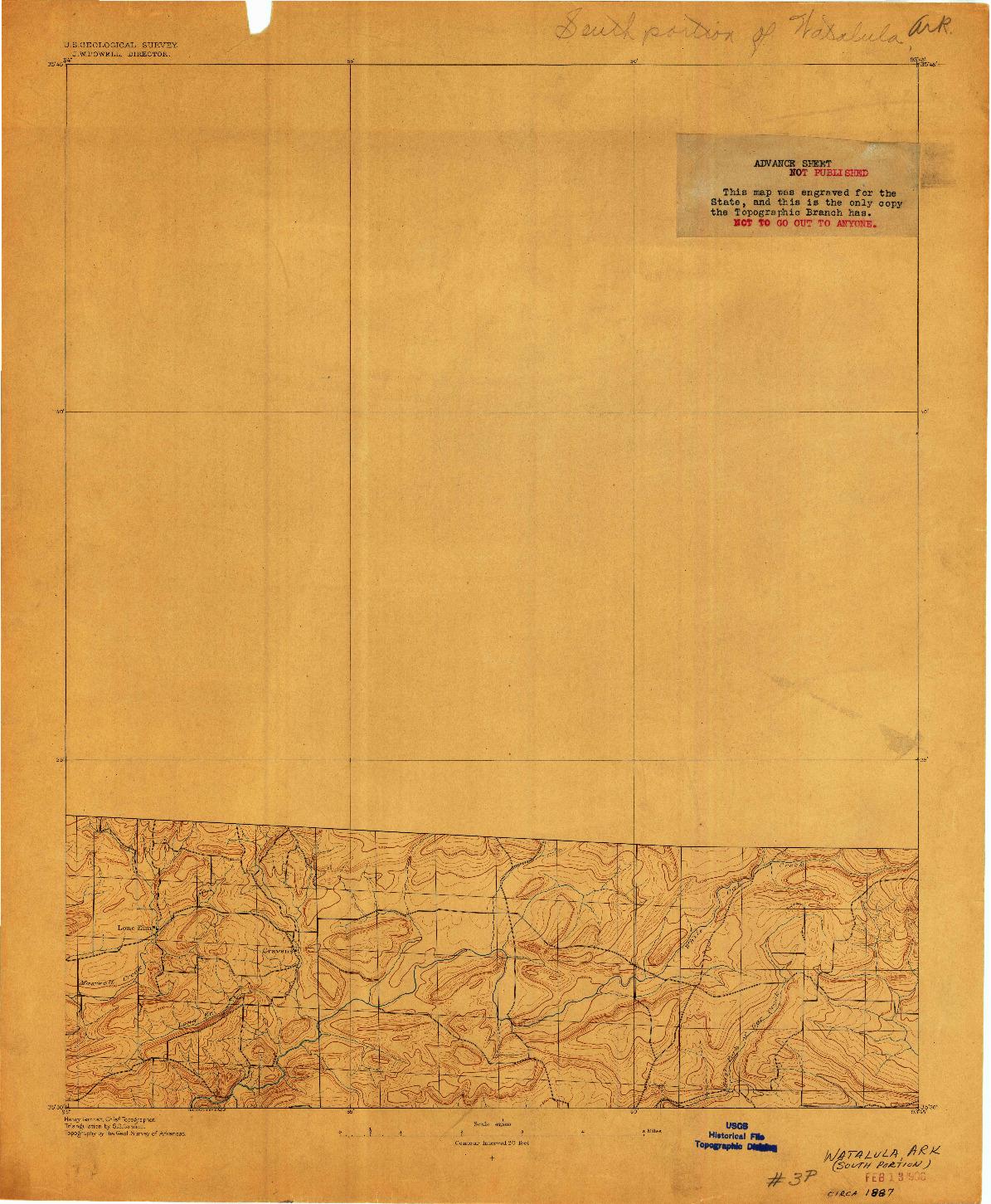 USGS 1:62500-SCALE QUADRANGLE FOR WATALULA, AR 1887