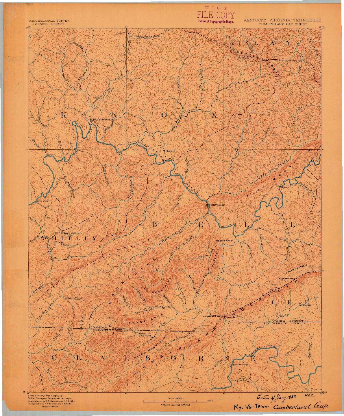 USGS 1:125000-SCALE QUADRANGLE FOR CUMBERLAND GAP, KY 1888