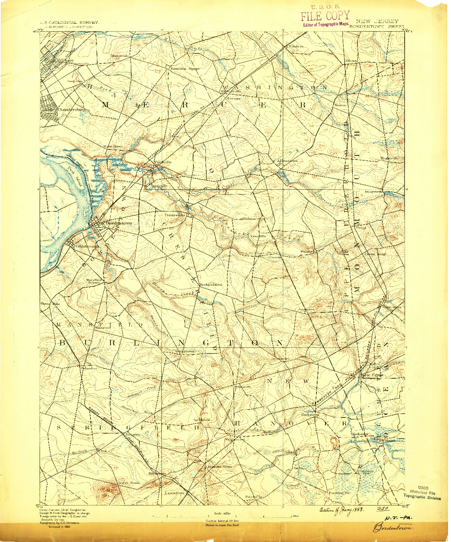 USGS 1:62500-SCALE QUADRANGLE FOR BORDENTOWN, NJ 1888