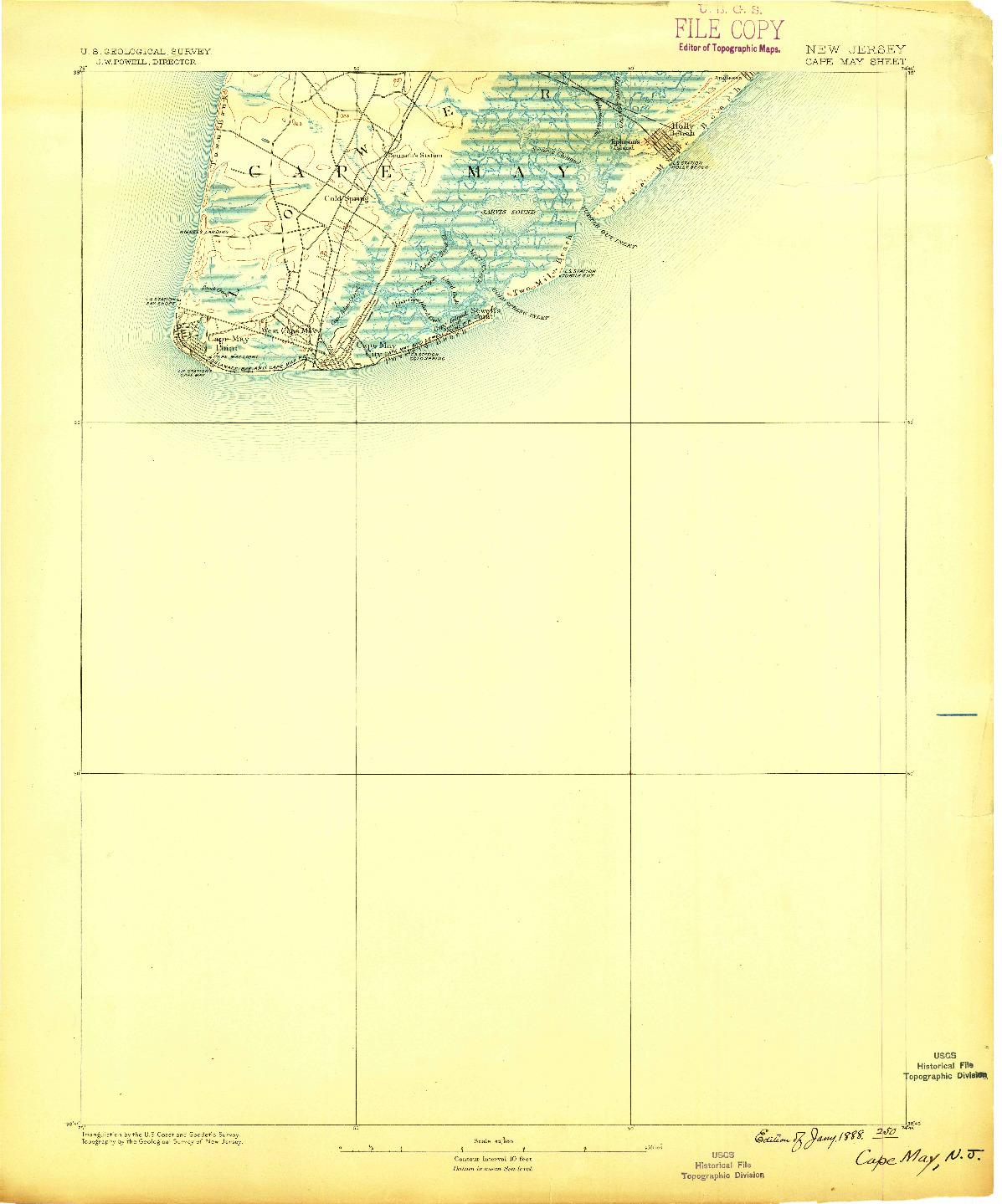 USGS 1:62500-SCALE QUADRANGLE FOR CAPE MAY, NJ 1888